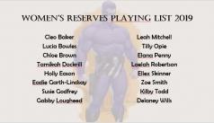 2019 Reserves Women